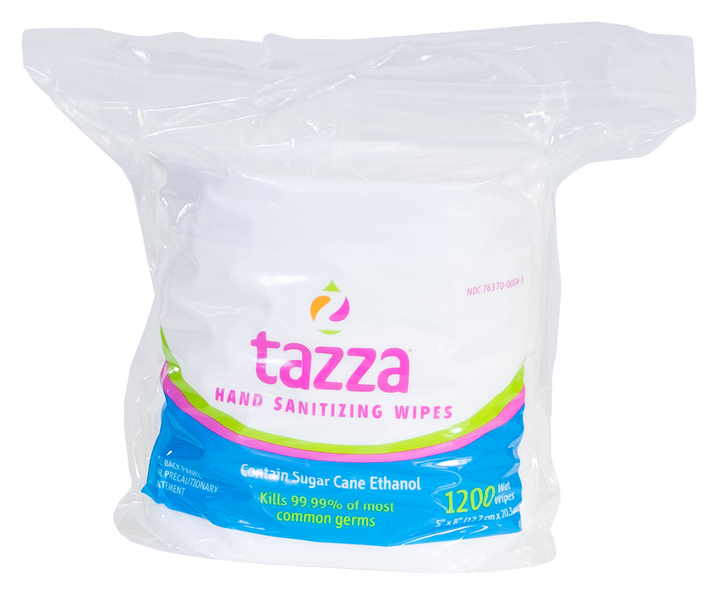 Tazza® Alcohol-Based Hand Sanitizing Wipes (1200 ct. per bag, 4 bags per case)