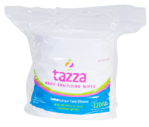 Tazza® 70% Alcohol-Based Hand Sanitizing/ Surface Cleaning Wipes 1200Ct/Bag, 4 bags/Cs, 4800 total wipes