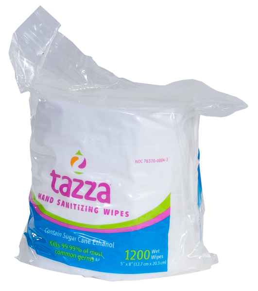 Tazza® 70% Alcohol-Based Hand Sanitizing Wipes (1200 ct. per bag, 4 bags per case - 4,800 total - $.04/wipe)