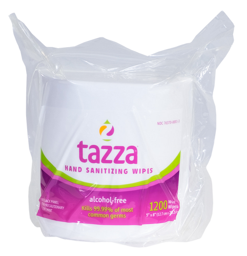 Tazza® Alcohol-Free Hand Sanitizing Wipes (1200ct per bag, 4 bags per case)