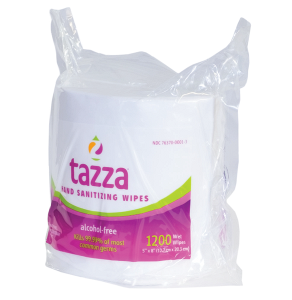 Tazza® Alcohol-Free Hand Sanitizing/ Surface Cleaning Wipes (1200Ct/Bag, 4 bags/Cs, 4800 total wipes)