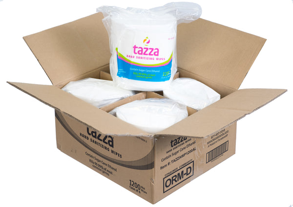 Tazza® 70% Alcohol-Based Hand Sanitizing Wipes 1200Ct/Bag, 4 bags/Cs, 4800 total wipes
