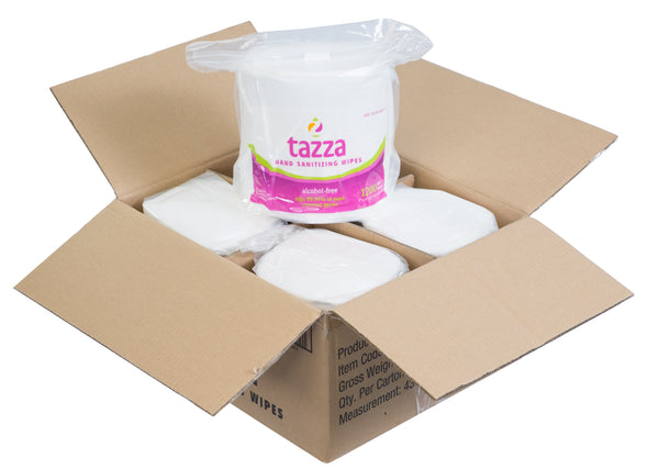 Tazza® Alcohol-Free Hand Sanitizing Wipes (1200ct per bag, 4 bags per case - 4,800 total - $.03625/Wipe)