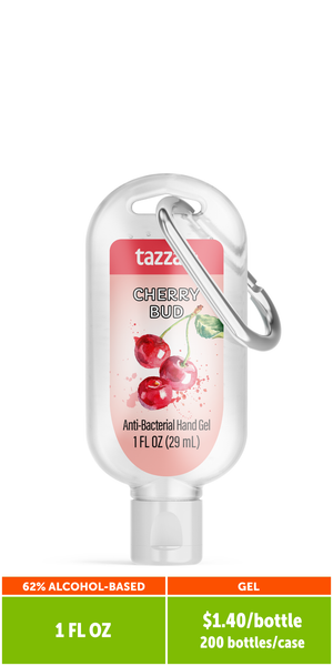 Travel Scented 62% Alcohol-Based Hand Sanitizer with Clip (1 oz. bottle, 200 per case)