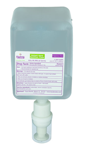 Tazza® Alcohol-Free Hand Sanitizing Foam (1000mL bottles, 2-bottles per case) - Fits Mini Dispensers