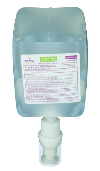 Tazza® 70% Alcohol-Based Hand Sanitizing Foam (1000mL bottles, 2-bottles per case) - Fits Mini Dispensers
