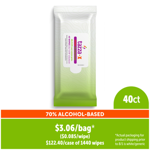 TAZZA® 70% Alcohol-Based Hand Sanitizing Wipes (In Resealable Packets) 40Ct/Bag, 36 Bags/Cs, 1440 total wipes