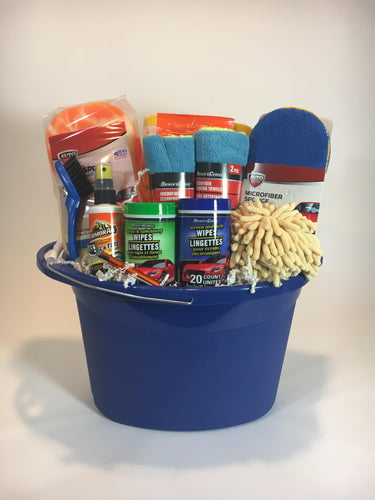 bucket towels sponges brushes cleaning products
