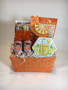 silverware caddy basket with granola, sodas, cookies, drink mix, and pretzels