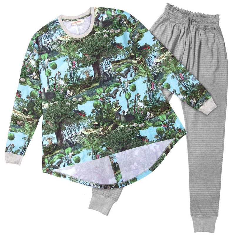 Womens Long Sleeve T-shirt and Shirred Pants Pyjama Set - Aussie Toile
