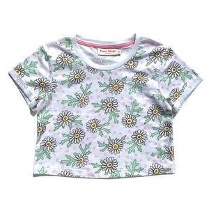 Cropped T-shirt - Daisies