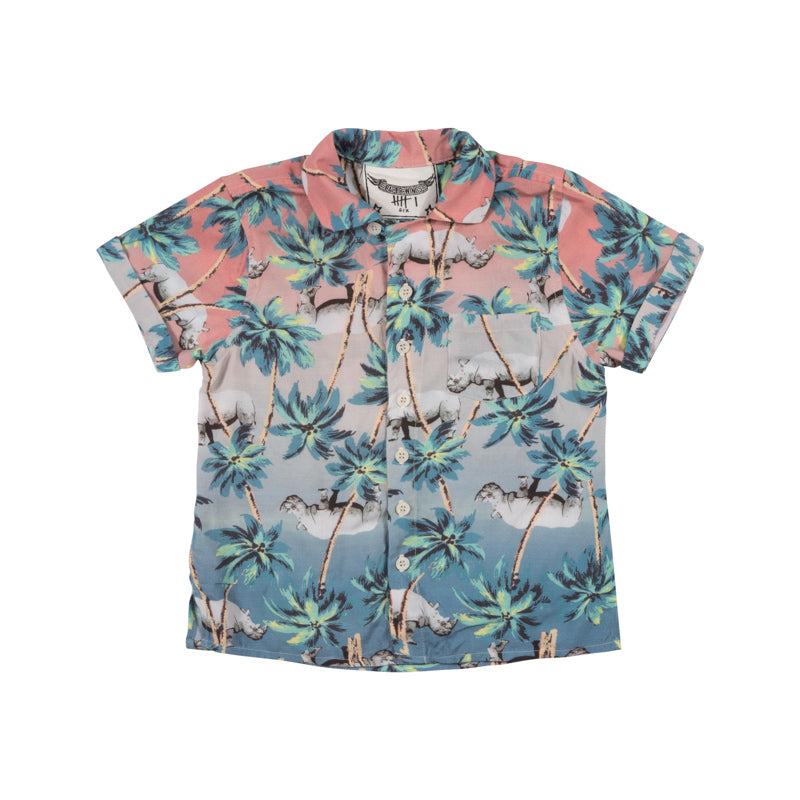Short Sleeve Shirt - Jungle Rhino Sunset