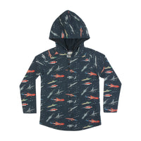 Hooded Button Up Long Sleeve T-shirt - Galactic