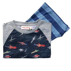 Kids Short Sleeve Raglan T-shirt and Shorts Set - Vintage Rockets