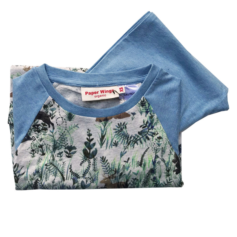Kids Long Sleeve Raglan T-shirt and Trackies Pyjama Set - Water Colour Forest