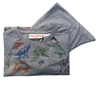 Kids Long Sleeve Raglan T-shirt and Trackies Pyjama Set - Coloured Dinosaurs