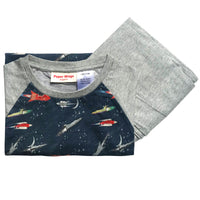 Kids Long Sleeve Raglan T-shirt and Trackies Pyjama Set - Vintage Rockets