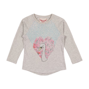 Long Sleeve Raglan Tee - Heart Swan