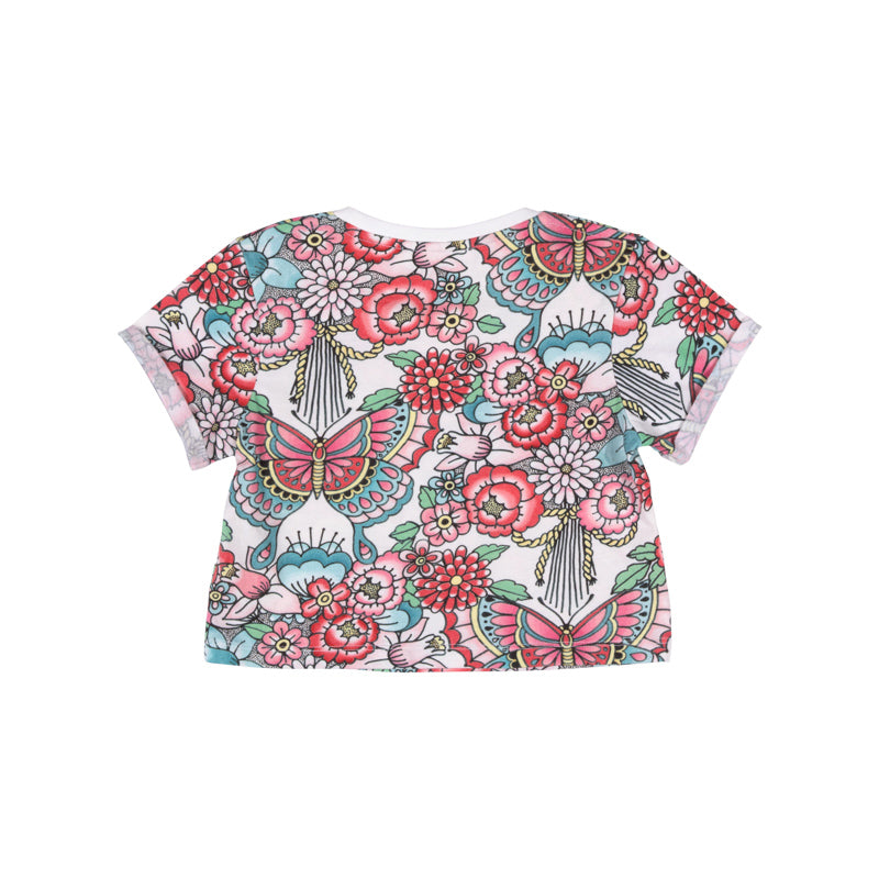 Cropped T-shirt - Tattoo Flowers