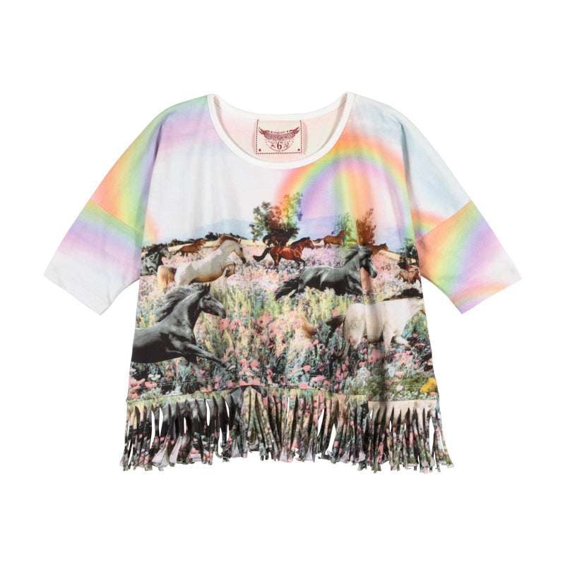 Fringed Oversized Tee - Rainbow Horses