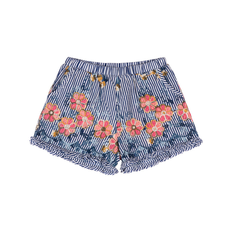 Embroidered Poplin Shorts