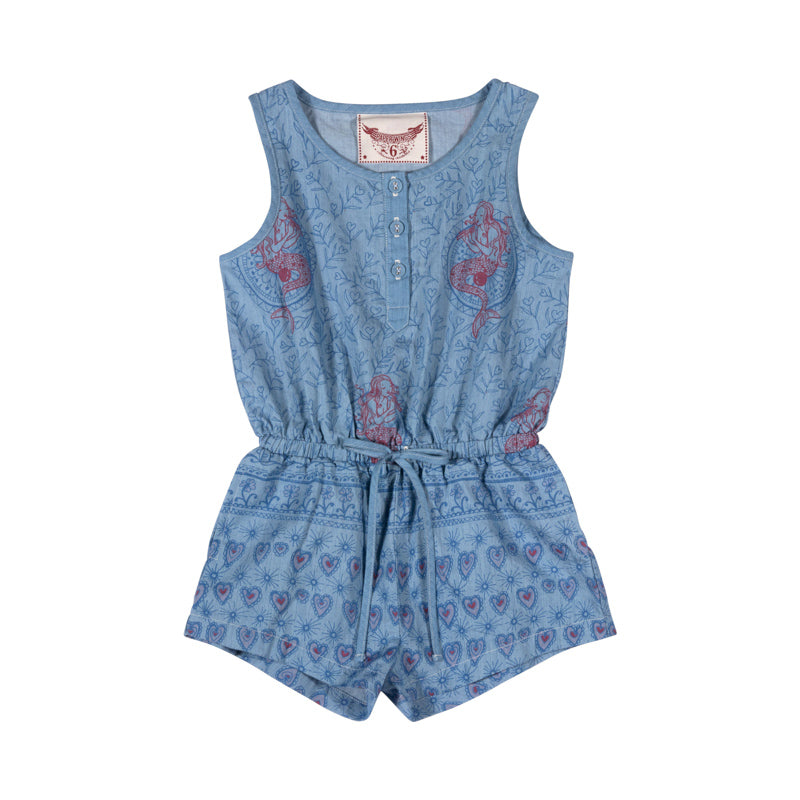 Chambray Romper - Festival Pink