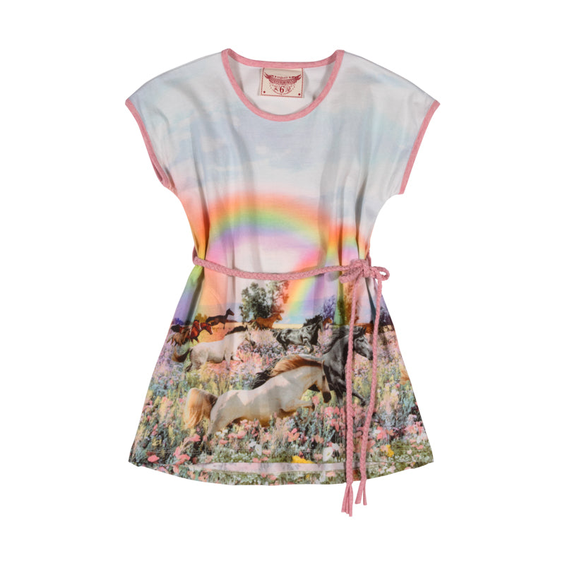 Tee Dress with Plaited Belt - Rainbow Horses