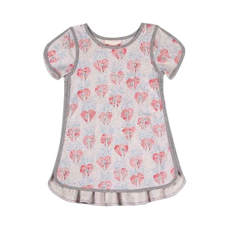 Dress with Binding - Heart Swan Repeat