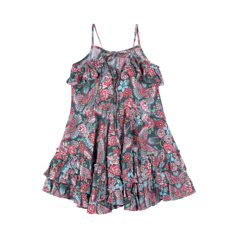 Frilled Dress with Ties - Tattoo Flowers