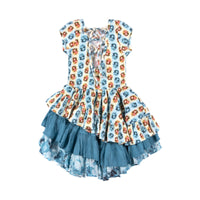 Back Laced Dress -  Vintage Rose Stripe
