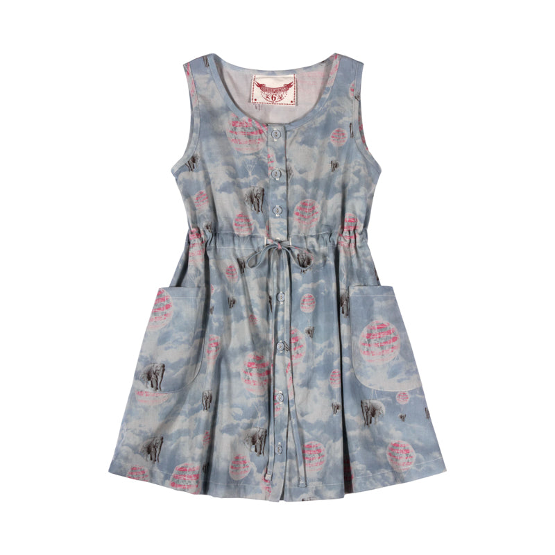 Drawstring Shift Dress - Elephant Ride