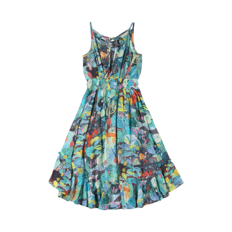 Shirred  Hilo Dress - Mystery Jungle