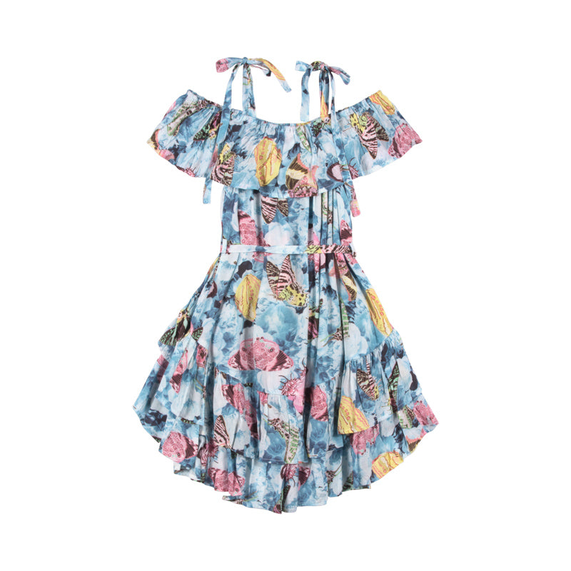 Frilled Off Shoulder Dress - Vintage Butterfly Roses