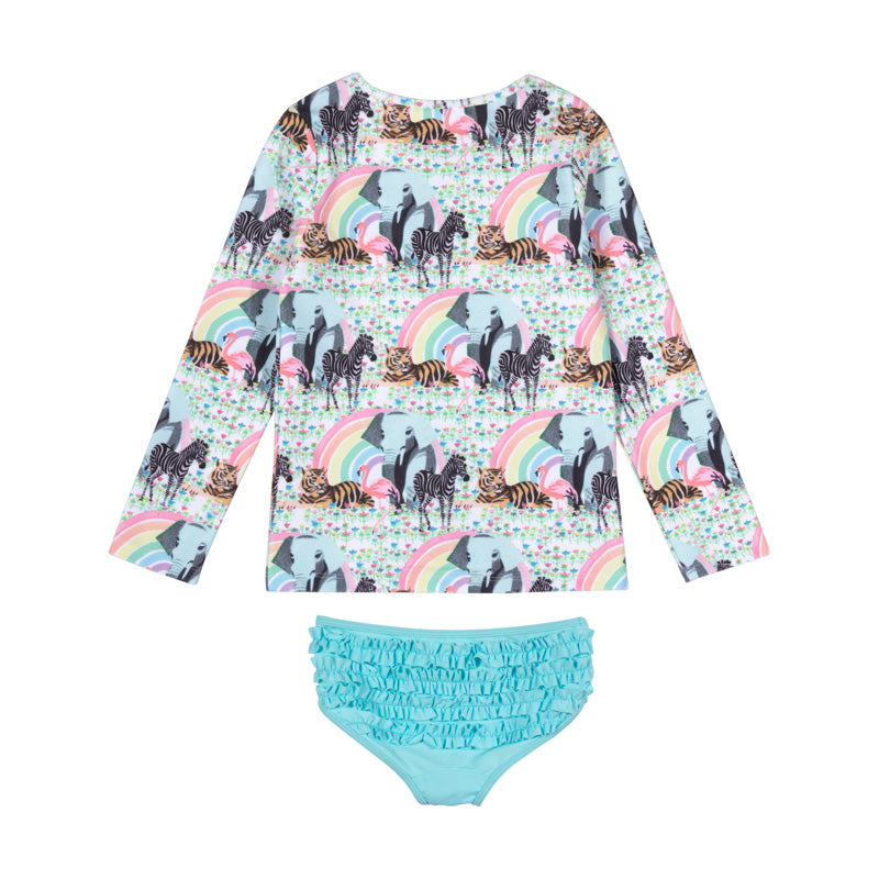 Zip Up Rashie Set - Rainbow Safari