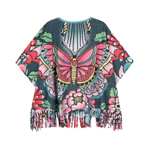 Fringed Poncho - Tattoo Flowers