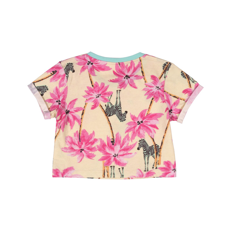 Cropped T-shirt - Tropical Zebra