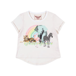 Classic Tee with Cuffs - Rainbow Safari