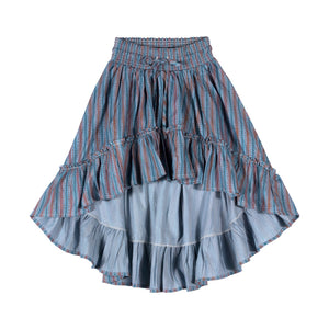 Shirred Hilo Skirt - Texta Stripe Vertical Red
