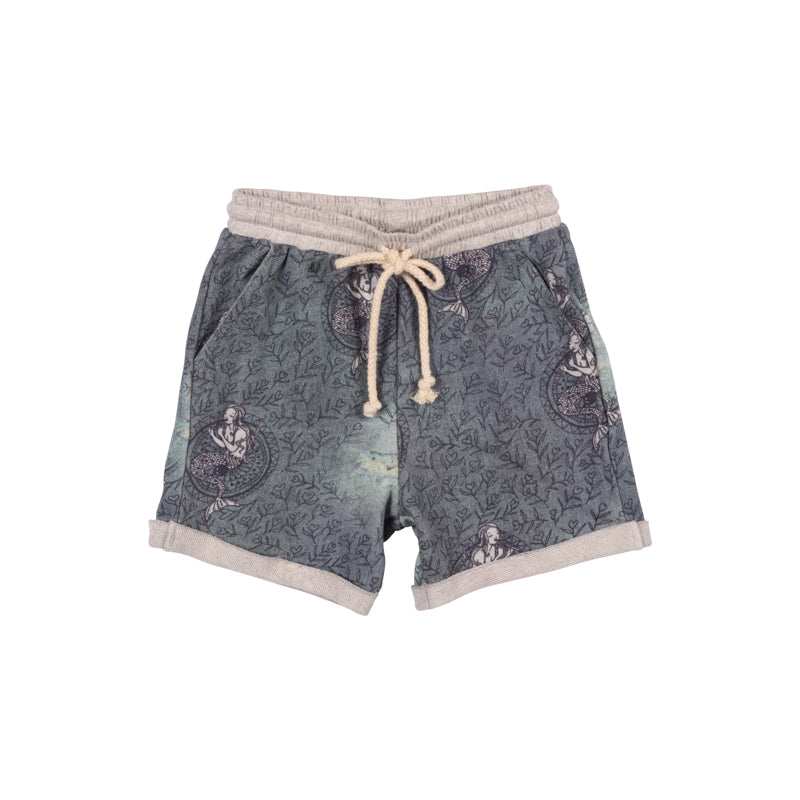 Cuff Trackie Shorts  - Denim Mermaid