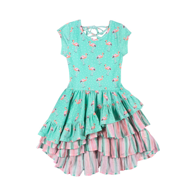 Back Laced Dress - Flamingo Spot
