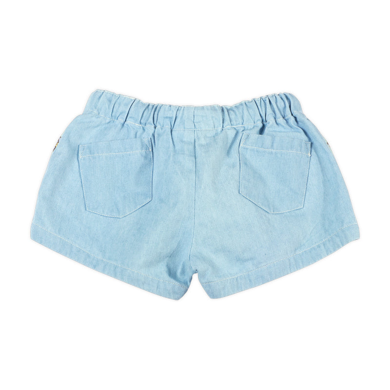 Denim Embroidered Shorts