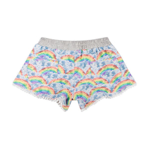French Terry Shorts - Rainbow Clouds