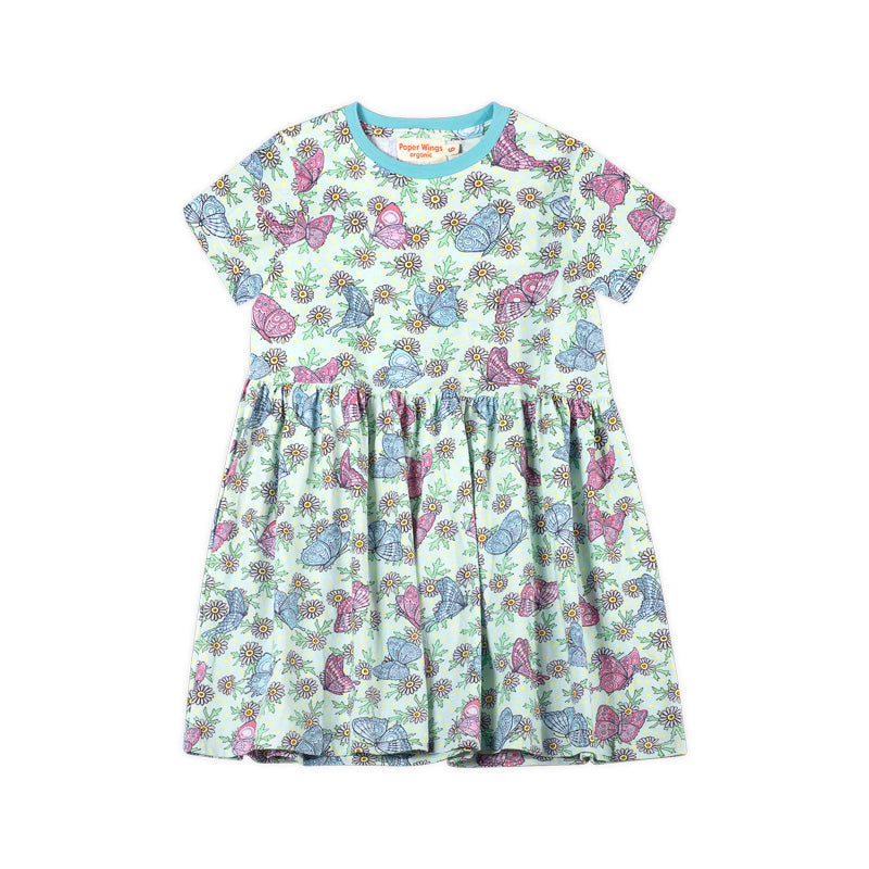 Short Sleeve T-shirt Dress - Butterfly Daisies