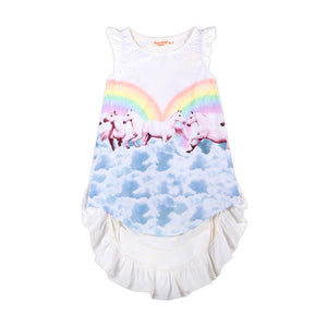 Frilled Bustle Dress - Rainbow Horses