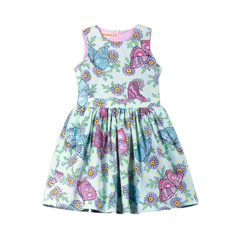 Gathered Sleeveless Dress - Butterflies