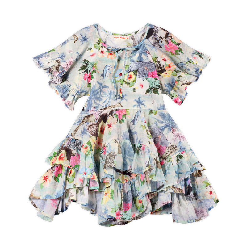 Frilled Smock Dress - Hawaiian Print