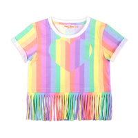 Fringed Cropped T-shirt - Rainbow Heart