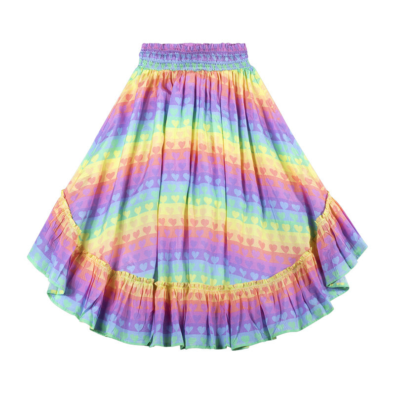 Frilled Maxi Skirt - Rainbow Heart Stripe