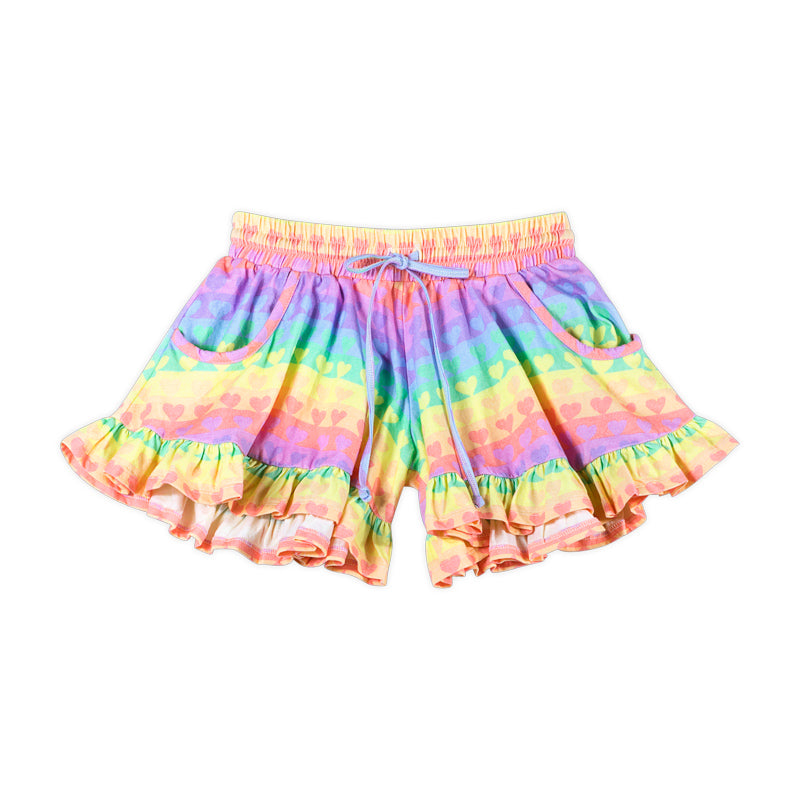 Frilled Jersey Shorts - Rainbow Heart Stripe