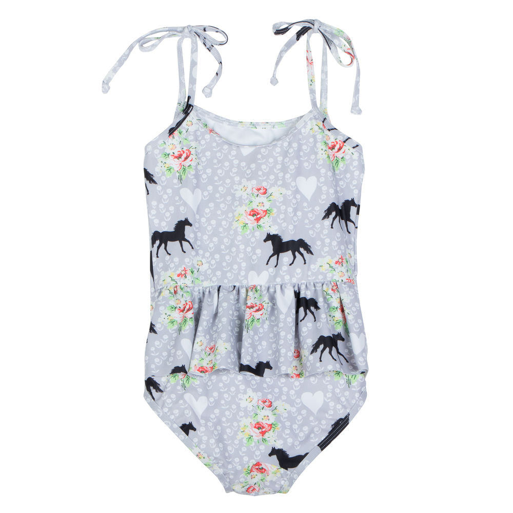 Bustle Back Swimsuit w/ Ties - Spring Horse
